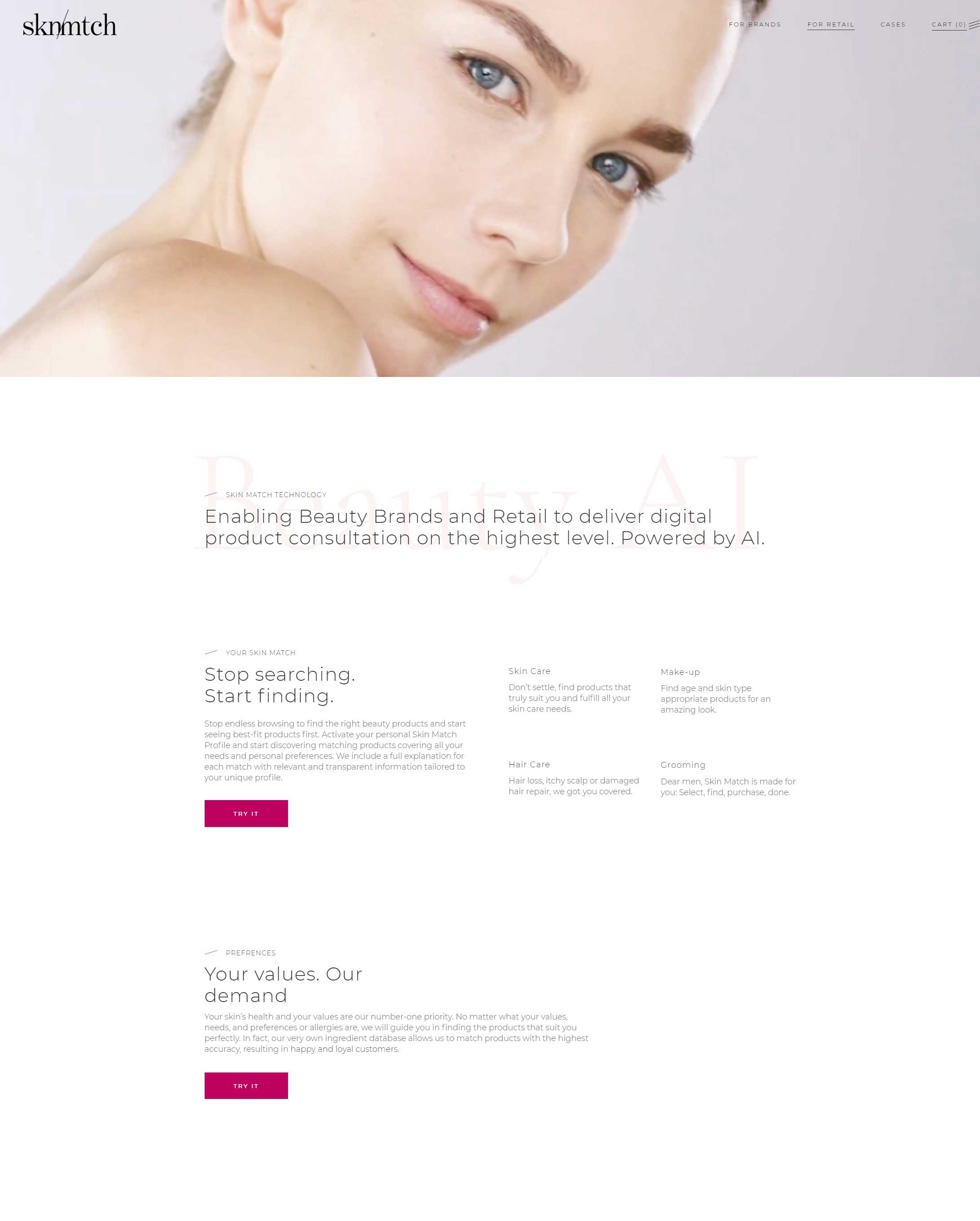 Skin Match Technology Homepage