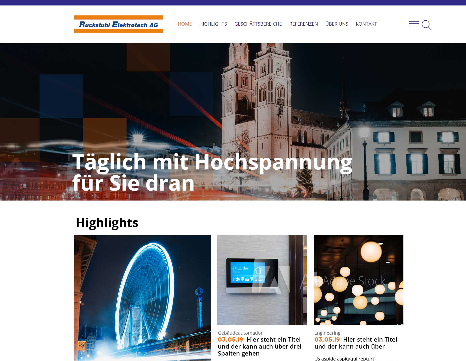 Website Ruckstuhl Elektrotech AG